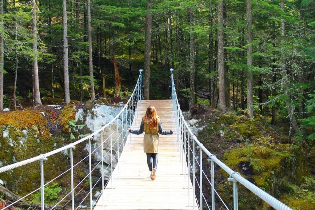 walk to train wreck in whistler bc canada