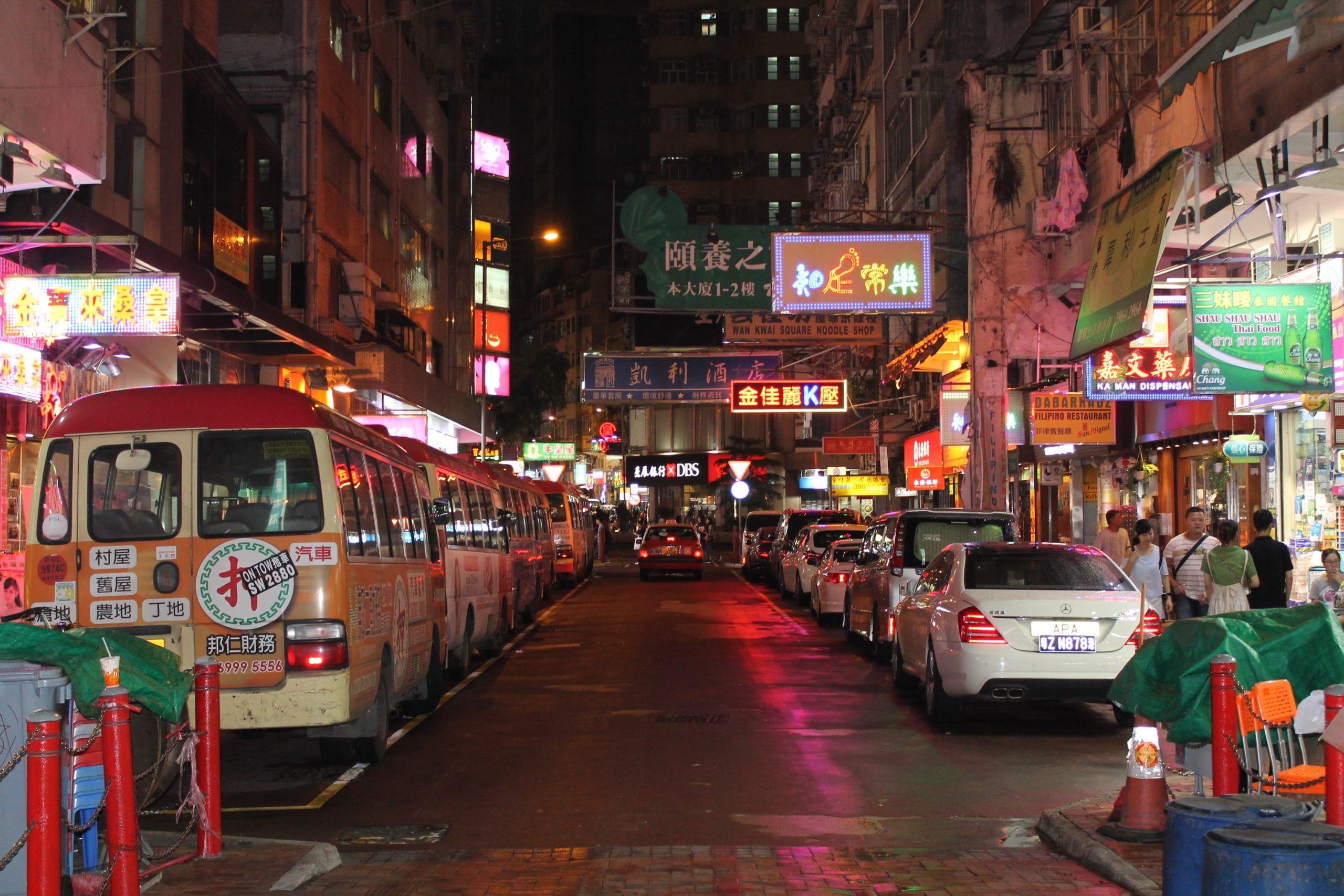 neon lights nathan road, hong kong