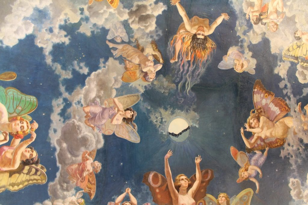 Beautiful paintings on ceiling at real casino de murcia