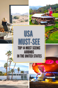 From a a 1950s dairy barn in Virginia to a super unique Futuro House in Joshua Tree - here are 14 of the most scenic airbnbs in the USA.