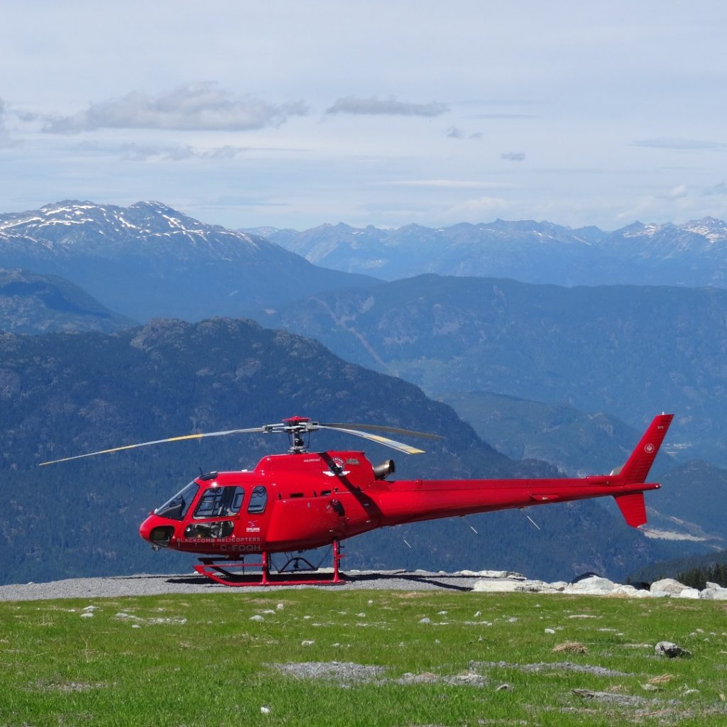helicopter on whistler mountain