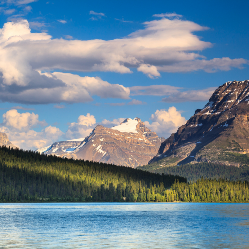 bow lake alberta on a sunny day
