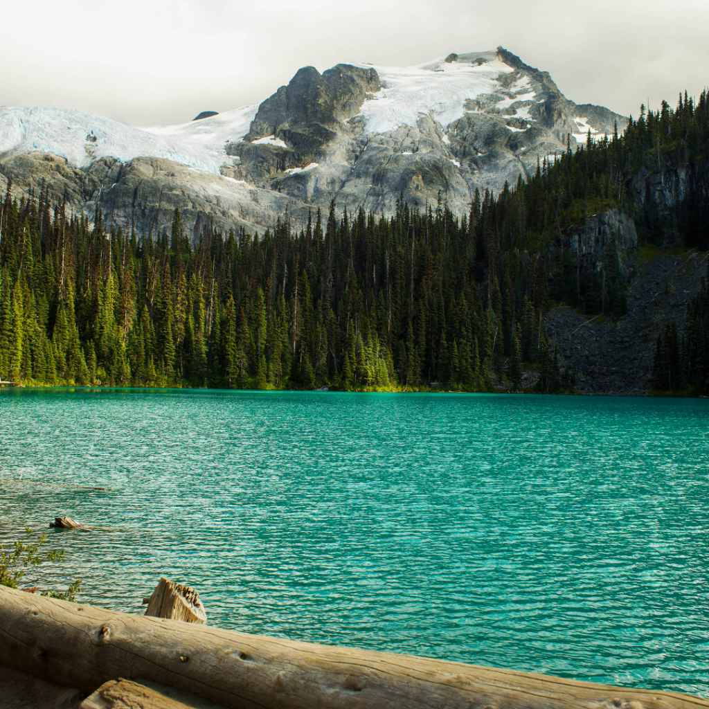 joffre lakes with a dusting of snow