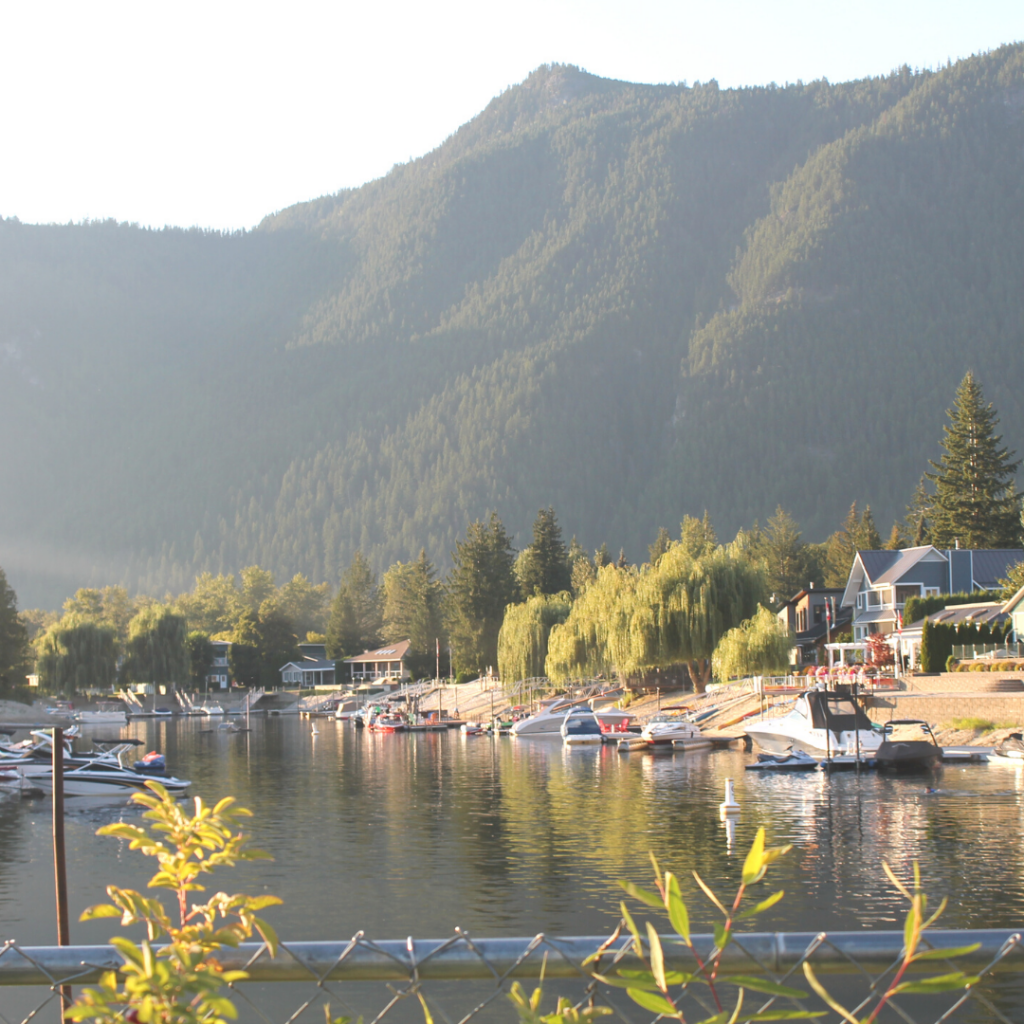 sicamous beach at sunset