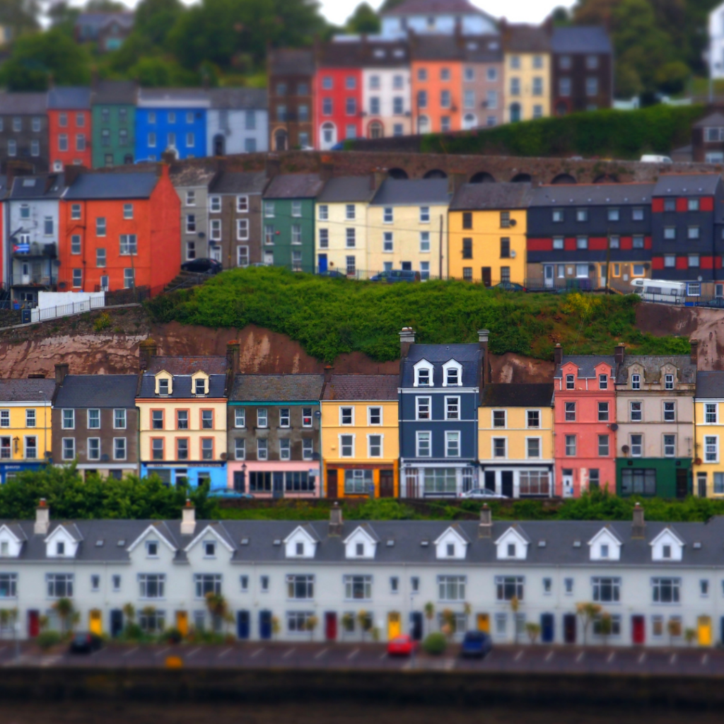 colorful houses overlooking the Cork Marina